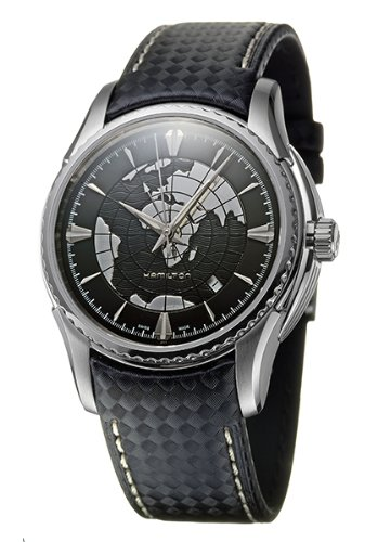 Hamilton H34655731 Aquariva Black Leather Automatic Two Time Zones Mens Watch