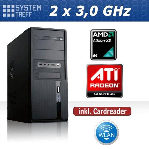 KOMPLETT PC System Rechner AMD X2 250 2x3,0 GHz | 4GB RAM | 500 GB Festplatte | 22x DVD Brenner | ATI HD3000 OnBoard DVI | 7.1 Soundchip | Gigabit LAN | 420 Watt (silent) Netzteil | Cardreader | Wlan USB Stick | MSI Mainboard