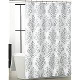Tahari luxurious grey amp white damask medallion fabric shower curtain