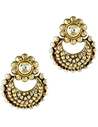 Gehnamart Yellow Gold Plated Pearl Floral Designer Stud Earring