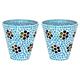 EarthenMetal Handcrafted Mosaic Design Decorated Tealight Holder (Candle Light Holder)- Set Of 2 - B018MB802S