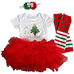 CAKYE Baby Girl Xmas Outfit Infant Newborn My First Christmas Dress Santa Clothes 5Pcs
