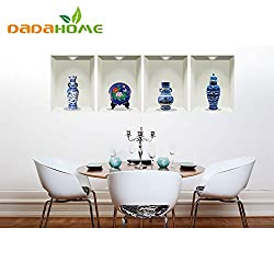 New 3D diy Chinese Style Blue and White Porcelain Living Room Bedroom Wall Art mural Vinyl Home Decoration Wall Sticker