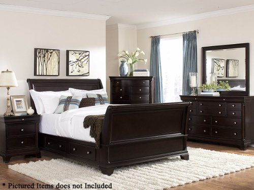Inglewood 5 Pc Queen Sleigh Bedroom Set With 2 Nightstand By Home Elegance In Espresso front-1074608