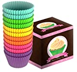 Sunsella Little Gems - 12 High Quality BPA Free Silicone Baking Cups - 100% Money-back Lifetime Guarantee! - Perfect Cupcakes & Muffins Every Time - Non-stick, Dishwasher, Oven, Microwave, Freezer Safe, Durable & Reusable Bakeware - 6 Fun & Vibrant Colors, Great Cupcake Gift Idea - Meets FDA Standards