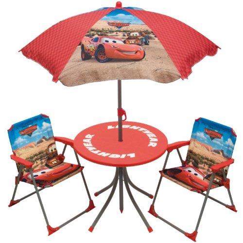 disney cars ensemble avec table parasol et 2 chaises pour enfant 4 pi ces mobilier de camping. Black Bedroom Furniture Sets. Home Design Ideas