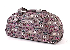"""30"""" Extra Large Grey Butterfly Print Lightweight Wheeled Holdall Holiday Weekend Travel Bag from Borderline"""