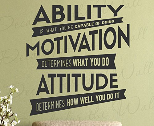 Ability Is What Youre Capable Of Doing Motivation Attitude Determines How Well You Do It - Lou Holtz Character Inspirational Motivational Inspiring Positive - Decorative Vinyl Wall Decal Lettering Art Decor Quote Design Sticker Saying Decoration (Positive Wall Stickers compare prices)