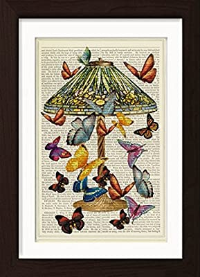 Tiffany Lamp with Butterflies Ready To Frame Mounted /Matted Dictionary Art Print