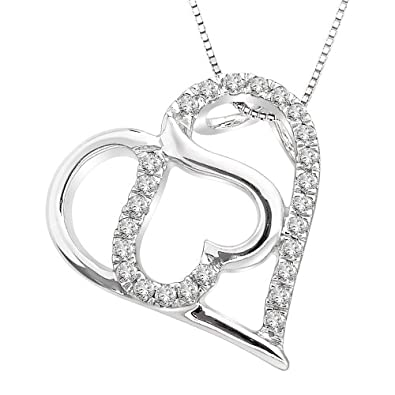 Sterling Silver Diamond Double Heart Pendant Necklace - Save: 52%