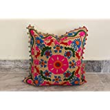 Handicraft Of Pink City Indan Suzani 16'' Cushion Cover Embroidered Cotton Pillow Cover