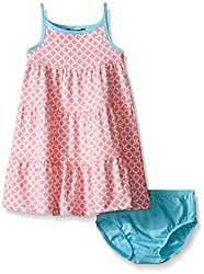 Nautica Baby Geo Print Tiered Dress with Contrast Binding, Soft Coral, 24 Months