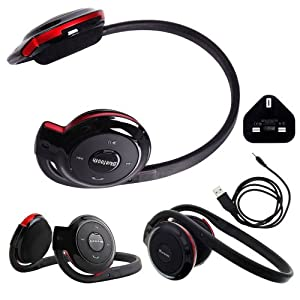Wayzon BH503 Portable Bluetooth Wireless / Cordless Stereo Sports Headphones Headset Hands Free Earpiece Earphone Headband + Mains Charger Adaptor iN BONUS For Samsung Galaxy S 4G / Blaze / Duos S7562 / II 2 4G / Epic 4G Touch