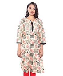 Lal Chhadi Women's Beige color 3/4 Sleeve Cotton Kurta