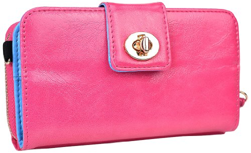 Kroo Magnetic Clutch Wallet For Lg G2 - Frustration-Free Packaging - Baby Pink front-1061554