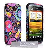 HTC ONE S Black / Multicoloured Jellyfish Pattern Silicone Gel Case Cover With Screen Protector Film And Grey Micro-Fibre Polishing Clothby Yousave