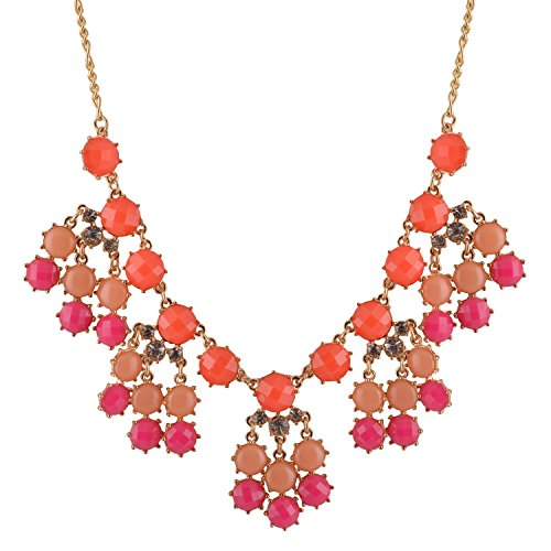 Real Spark Colorful Gemstone Diamond Riviere Pendant Style Necklace (Rose red)