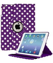 KolorFish iLittle Polka Dots 360 degree Rotating Leather Flip Stand iPad Case Cover For iPad Air (Purple)