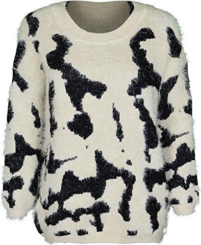 Soft Touch-Maglione a girocollo da donna con piume, taglia unica, adatta per, 12, 14 e 16 Cream And Black Taglia unica