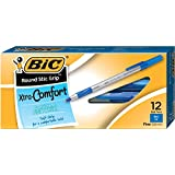 BIC Round Stic Grip Xtra Comfort Ball Pen, Fine Point (0.8 mm), Blue, 12-Count