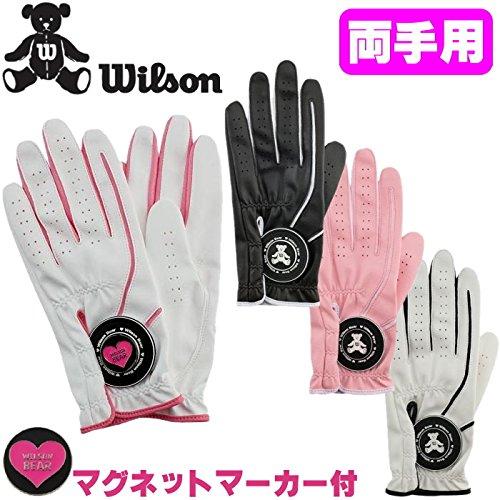Wilson ウィルソン ベア 両手用 ゴルフグローブ レディースモデル・マグネットマーカー付 ピンク/ホワイト,S(17-18cm)
