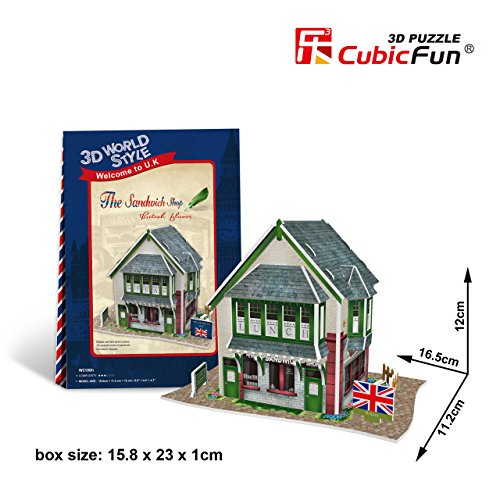 3D Jigsaw Puzzle The Sandwich Shop CubicFun 3D Puzzle W3106h 36 Pieces Decorative Fashion Best Seller Cubic Fun ® Exiting Fun Educational Historic Playing Building Game DIY Holiday kids Best Gift Toy Set