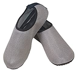 Mens Aqua Water Skin Shoes Mesh Low Cut Type Aqua Socks Outdoor Running Pool Fitness Diving Grey