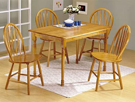 5pc Oak Finish Wood Dining Table 4 Windsor Chairs Set