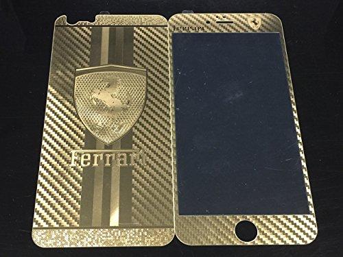 iPhone6/6 Plus完全対応 0.3mm強化ガラス スクリーン プロテクター 液晶保護フィルム (iPhone6 両面, ホログラム 金フェラーリ Ferrari柄) [並行輸入品]