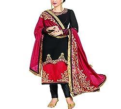 Wonder Villa Women's Faux Georgette Semi-Stitched Dress Material - ELIZA 5005_Black