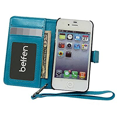 iPhone 4 case,iPhone 4s case,Belfen® [Blue] iPhone 4S Case Wallet [Stand Feature] with Credit Card Slot/ ID Window / Inner Pocket - High quality PU Leather Flip Cover Folio Wallet Case - Verizon, AT&T, Sprint, T-Mobile, International, and Unlocked - Case