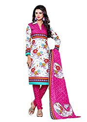 SayShopp Fashion Women's Unstitched Regular Wear Cotton Printed Salwar Suit Dress Material (ZDM-20_Pink,White_Free Size)