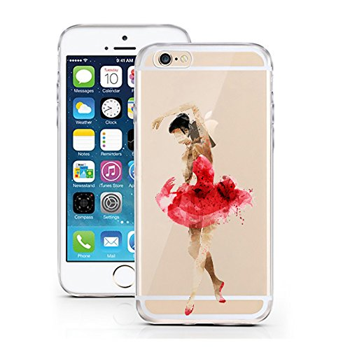 "'licaso® iPhone 6 6S 4,7 TPU cellulare Sketch Case trasparente chiara per cellulare cellulare iPhone6 Custodia Girl cover iPhone 6 6S 4,7"" Ballerina rot schwarz"