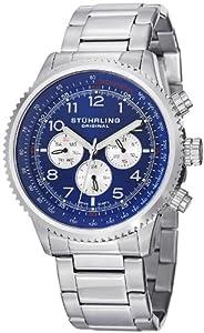 Stuhrling Original Men's 858B.02 Octane Silhouette Pro Analog Display Swiss Quartz Silver Watch