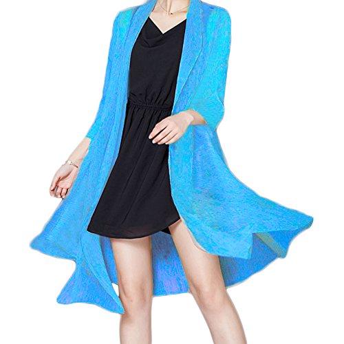 Minetom Donna Manica Lunga Kimono Cardigan Camicetta Camicia del Sole Tops Spiaggia Cover Up Sottile Cappotto Blu