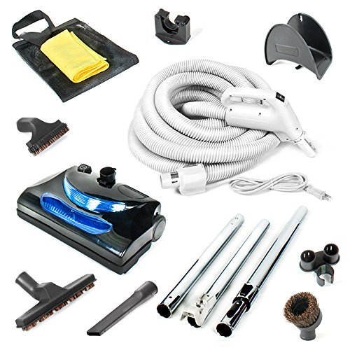 Central Vacuum kit with Powerhead, hose and tools for Beam Electrolux Nutone Hayden fits all brands white head (black, 35ft) (Hayden Central Vacuum Powerhead compare prices)