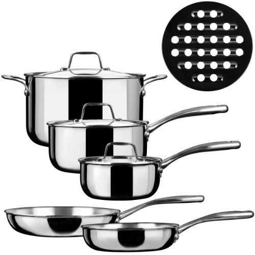 Duxtop SSC-9PC 9 Piece Whole-Clad Tri-Ply Induction Cookware, Stainless Steel (Induction Cooktop Triple compare prices)