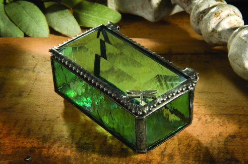 J Devlin Dragonfly Stained Glass Jewelry/Keepsake/Decorative Box - 1.5