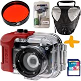 Intova IC16 Underwater Digital Camera Bundle + 16GB + Red Filter + Case + Camera Care Kit. Waterproof to 54 Metres Depth, 16 Million Pixels, 5x Optical Zoom.