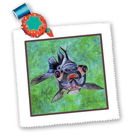 Qs_48473_1 Taiche - Acrylic Painting - Blackmoor Goldfish - Blackmoor Goldfish- Blackmoor Goldfish, Telescope Goldfish, Goldfish, Dragon Eye Goldfish - Quilt Squares - 10X10 Inch Quilt Square