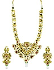 Long Kundan Necklace Set With Ruby Stones