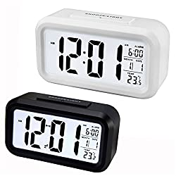 Shouldbuy Snooze Digital LCD Desk Alarm Clock Calendar Thermometer with Backlight Black