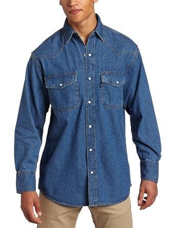 Key Apparel Men's Big-Tall Long Sleeve Western Snap Denim Shirt, Denim, Medium-Tall
