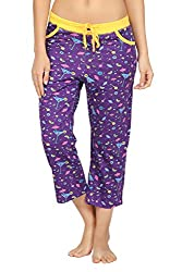 Nuteez Purple Cotton Martini Capri For Women