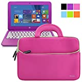 Evecase HP Stream 11 UltraPortable Handle Carrying Portfolio Neoprene Sleeve Case Bag for HP Stream 11 11-d010nr Notebook 11.6 inch Laptop - Hot Pink