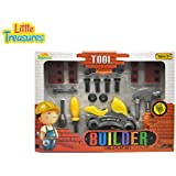 Little Treasures BUILDER 16pcs Pretend Play Mechanic Tools Set - A Combination Of Working Function Hand Tools...