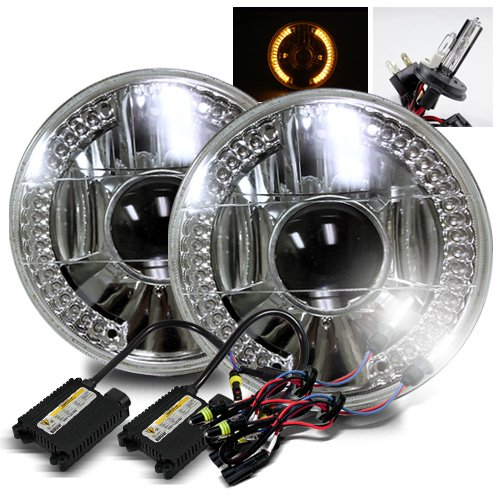 """6000K Pure White H4-2 Low Beam Xenon/High Beam Halogen Slim Hid/7"""" Round 6014/6015/6024 Chrome Projector Headlights With Amber Led Ring"""