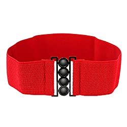 Imported Women Elastic Faux Leather Buckle Waist Wide Belt Stretch Waistband Red