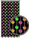 Beaded Curtains - Black Light Reactive Neon Pot Leaf Door Beads #61140