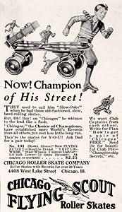 1931 Ad Antique Chicago Flying Scout Roller Skates Boy Skating Recreation Sport - Original Print Ad